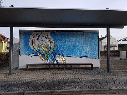 Graffiti-Entfernung Bushaltestelle nachher